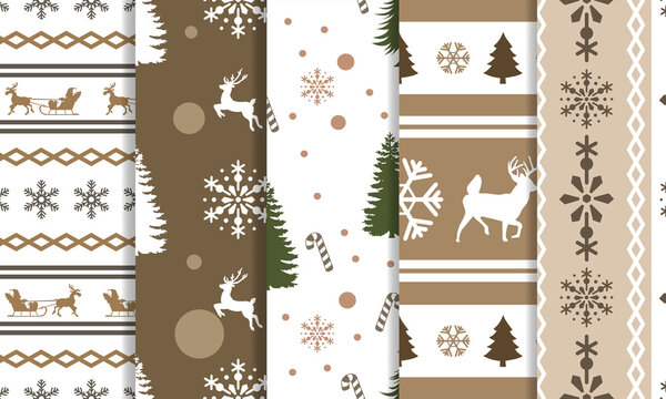 Christmas seamless patterns bundle. Christmas winter pattern designs pack. Soft color ornament for craft, and print. Floral and animal pattern vector illustration.