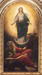 VIENNA, AUSTIRA - OCTOBER 22, 2020: The painting of Immaculate Conception in the St. John the Evangelist apocalyptic vision in church in church St. Johann der Evangelist by Carl Blass (1876ˇ).