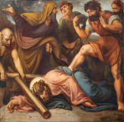 VIENNA, AUSTIRA - OCTOBER 22, 2020: The painting Jesus fall under the cross in church St. Johann der Evangelist by Karl Geiger (1876).