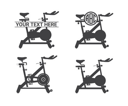 Spin Bike vector, Spin Bike Clipart, Spin Bike Silhouette,, Bicycle Exercise Equipment vector outline is drawn, Cycloergometer symbol Icon design, Cycloergometer icon set.