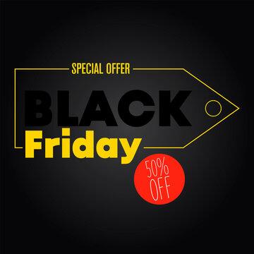 Yellow invitation Black Friday. 50% off. Black background banner.