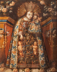 VIENNA, AUSTIRA - OCTOBER 22, 2020: The painting of Madonna in church Laurentiuskirche by unknown artist from spain.