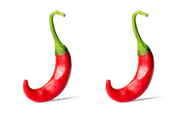 Two Red hot chili pepper isolated on a white background