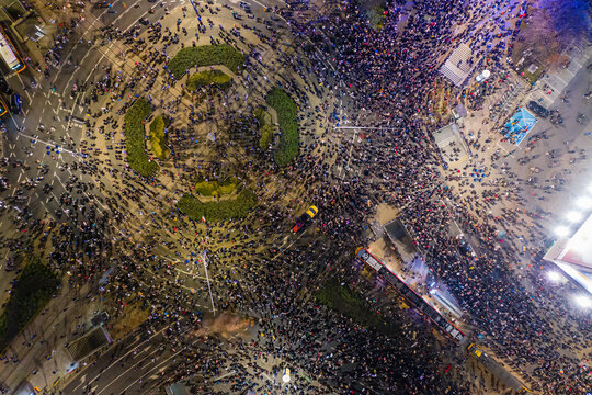 Warsaw, Poland - October 30 2020: Woman's Strike, massive women's and men's protests against the anti-abortion law and against government actions