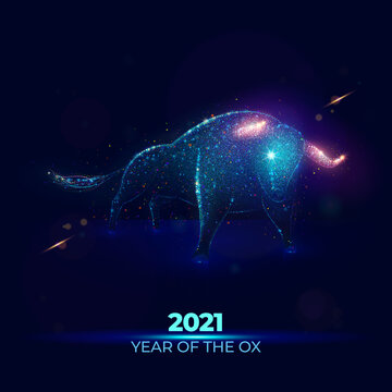 2021 Year of the Ox vector illustration made of neon particles. New 2021 year of the bull art in modern abstract style consists of colorful dots