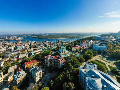 Aerial top view of Saint Andrew's church and Andreevska street from above city of Kyiv, Ukraine