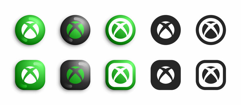 Microsoft XBox Video Game Console Modern 3D And Flat Icons Set Vector Isolated On White Background. XBox Series X Logo In Different Variations