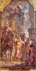 PARMA, ITALY - APRIL 16, 2018: The fresco of Martyrdom of St. Vitalis in church Chiesa di San Vitale by Michele Plancher (1832).