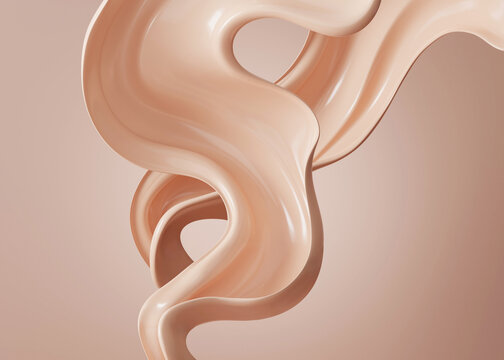 3D beige display with liquid foundation splash swirl on studio background. Nude makeup cream fluid flow podium showcase for beauty product, cosmetics promotion. Minimal Abstract 3D render mockup