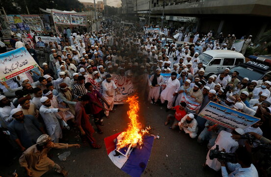 Protest against the cartoon publications of Prophet Mohammad in France and comments by the French President Emmanuel Macron in Karachi,
