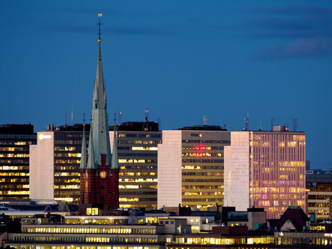 Stockholm, Sweden - October 23 2020 : High rise office buildings and Clara Church in the city centre