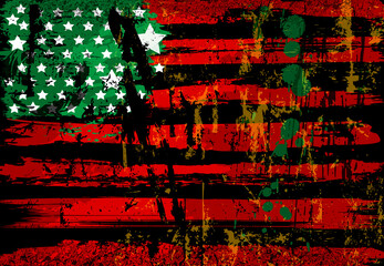 abstract background design, USA flag, with paint strokes, splashes, stars and stripes, grungy, black