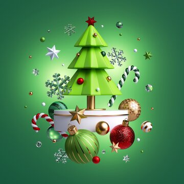 3d rendering of Christmas tree decorated with mixed festive ornaments levitating, isolated on green background. Winter decor: glass balls, golden stars, candy cane, snowballs. Greeting card.