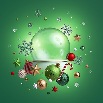 3d render, clear glass ball mockup decorated with Christmas ornaments, isolated on green background. Empty space, poster mockup. Red gold balls, crystal stars, candy cane, snowflakes