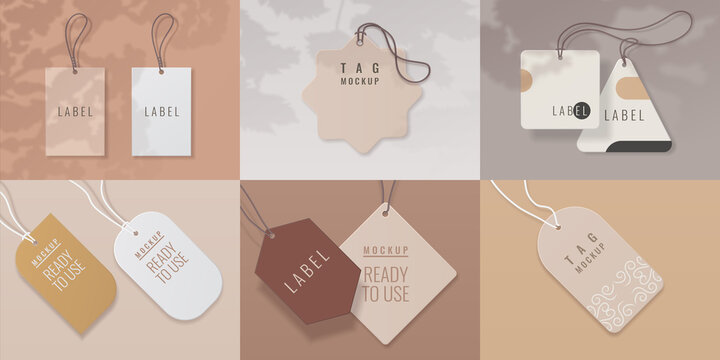 Paper tags. Realistic price labels with overlay shadow effect for shop goods, luggage and gifts. Collection of round and square cards, sale or discount sticker, vector promotion badge isolated set