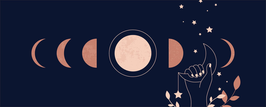Moon aesthetic. Boho mystical astrological poster with minimalist abstract astronomical phases. Magical tattoo and textile print template for clothes, esoteric symbols. Vector moonlight illustration