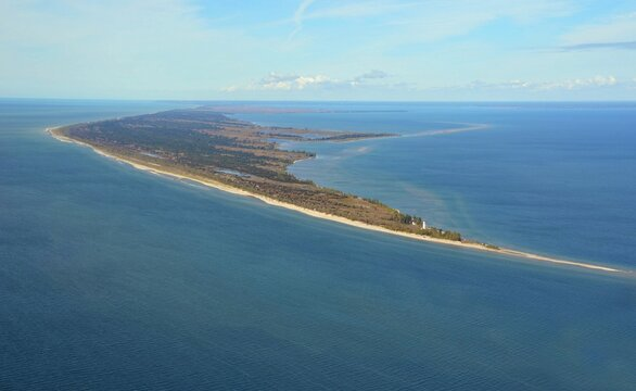 Aerial view of the tip of Long Point hamlet on the north shore of Lake Erie, part of Norfolk County in the province of Ontario, Canada