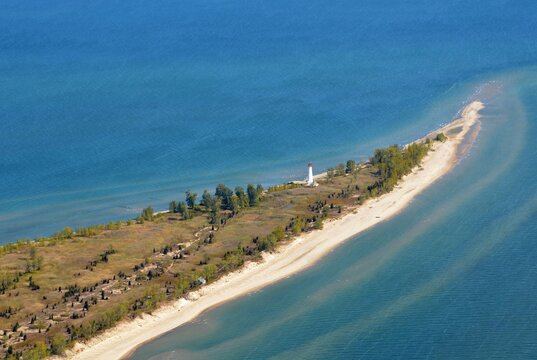 Aerial view of the lighthouse located on the tip of Long Point hamlet on the north shore of Lake Erie, part of Norfolk County in the province of Ontario, Canada