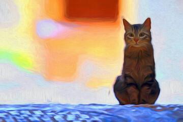 Impressionnisme, surréalisme. Un chat assis. Felis catus domesticus