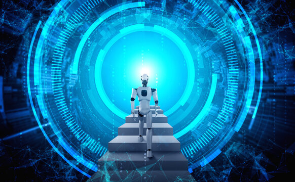 3D rendering robot humanoid walk up stair to success and goals achievement. Concept of AI thinking brain and machine learning process for the 4th fourth industrial revolution .