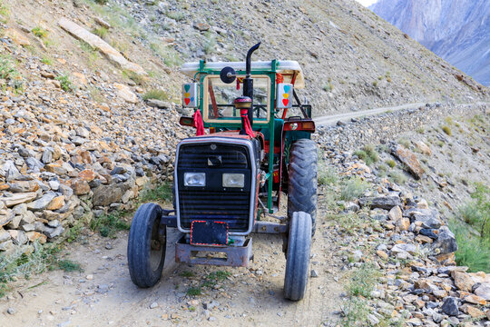 Tractor on the road from Hushe to Skardu, back from a trekking in the Karakoram mountains, Pakistan