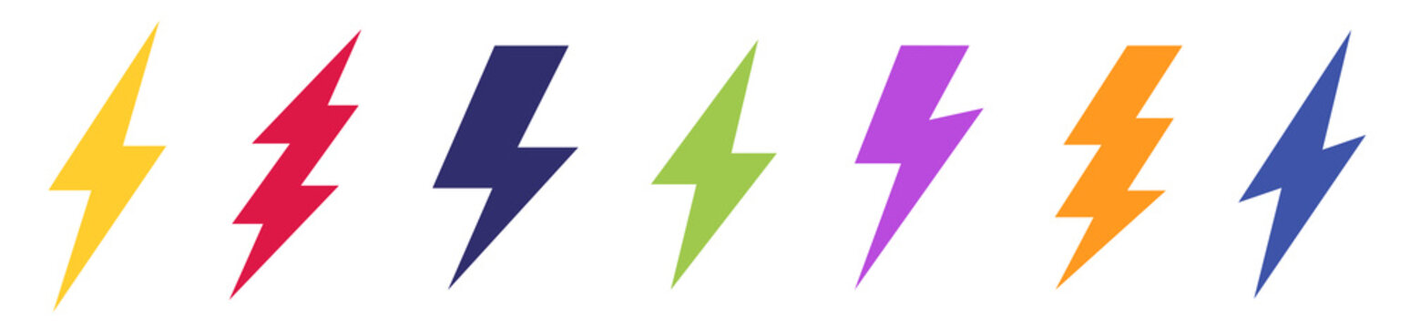 Set of different Lightning bolt vector icon. Energy and thunder symbol. Lightning strike collection colored vector icons isolated on white background. Vector illustration.