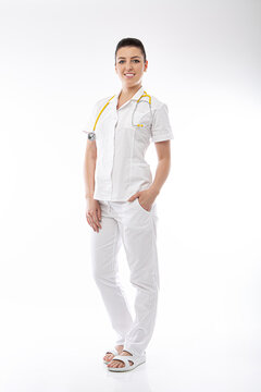 positive doctor in white and stethoscope