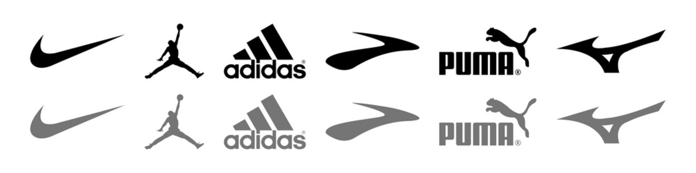Nike, Jordan, Adidas, Brooks, Puma, Mizuno - logos of sports equipment and sportswear company. Kyiv, Ukraine - October 31, 2020