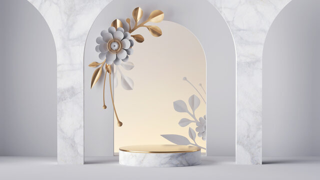 3d render, white background with floral arch and empty marble stage decorated with gold and white paper flowers. Showcase mockup with blank podium, commercial product presentation