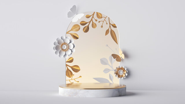 3d render, white festive background with floral arch and empty marble podium. Blank showcase for product presentation decorated with paper flowers and golden leaves