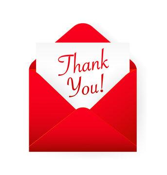 Flat red thank you envelope for decoration design. Vintage banner for celebration design. Red thank you card on white background.