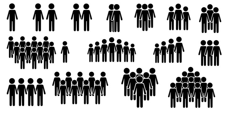 Vector icons of silhouettes of groups of people. Command symbol. Black team infographics. Stock image.