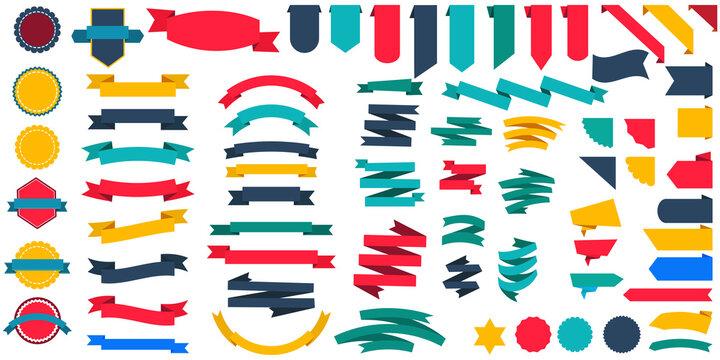 Set of ribbon banners scrolls seals. Vintage stamp set. Flat color stickers. Vector illustration.
