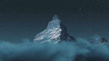 over clouds to the majestic Matterhorn mountain at night with shooting star