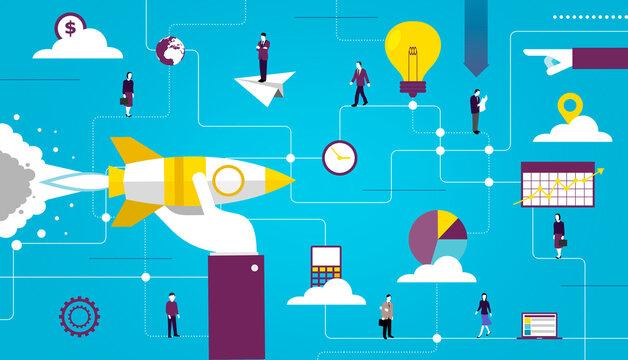Customer relationship management illustration. CRM. Software as a service. SaaS