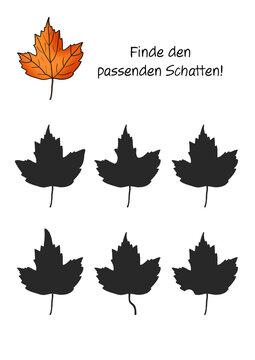 Rätselbild Schatten Herbst Blatt