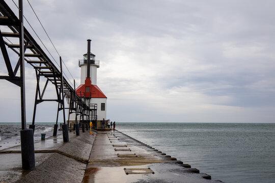 St. Joseph North Pier Lighthouse at Tiscornia Park in summer Michigan