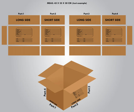 cardboard boxes on a white background add with shipping mark details 4 side dimension. this design creates for shipment for garments t-shirt if you want to you can use another product.