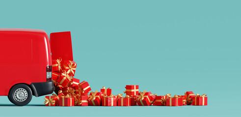 Santa Claus van delivering gifts. Christmas concept. 3d rendering