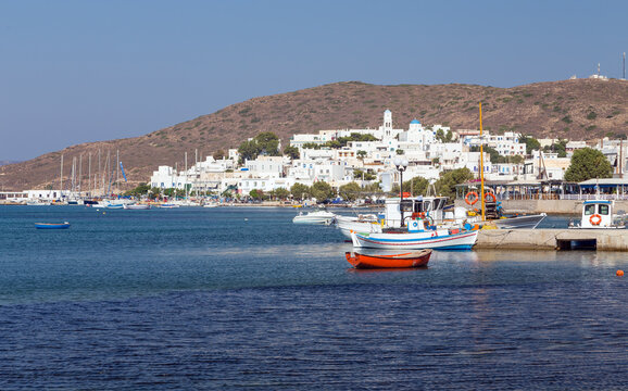 View of Adamantas village, Milos island, Cyclades, Greece