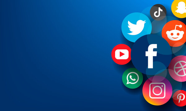 Social media concept icons and logos facebook, instagram, twitter, youtube on blue background.