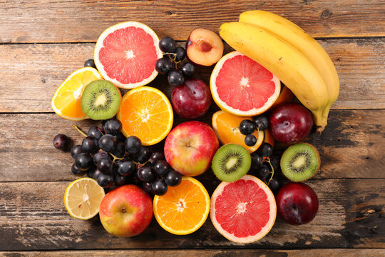 fresh fruit assorted - top view