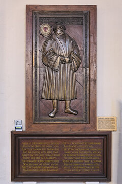 Jena, Germany. Bronze epitaph for Martin Luther in St. Michael Church. It was casted in 1549 and supposed to cover Martin Luther's grave in Wittenberg, but never reached its destination.