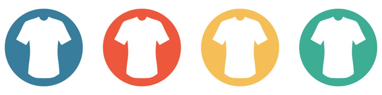 Bunter Banner mit 4 Buttons: T-Shirt, Mode oder Bekleidung