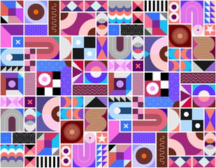 Abstract flat design seamless vector background with different geometric shapes and pattern elements.
