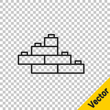 Black line Toy building block bricks for children icon isolated on transparent background. Vector.