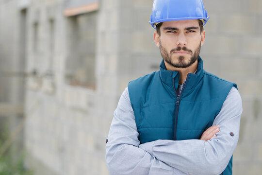 portrait of a serious workman