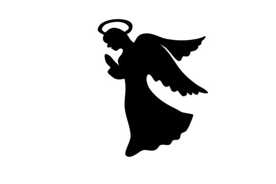 Silhouette of a Christmas angel in profile with her hands folded in prayer. Vector black silhouette of a cute angel. Christmas picture