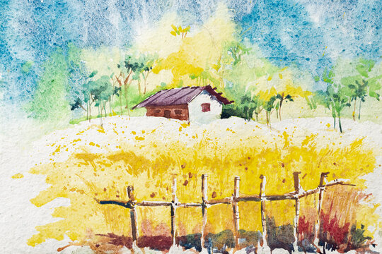 Watercolor painting of Indian village, a house with green forest background and yellow colored field in foreground. Indian watercolor painting made with paints and brush.