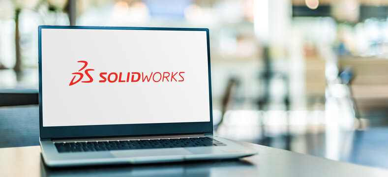 Laptop computer displaying logo of SolidWorks